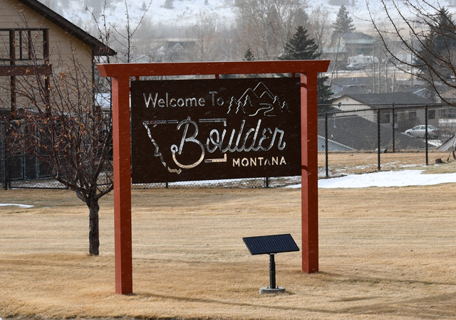 Boulder Montana Welcome Sign