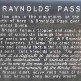 Raynold's Pass - Historical Marker