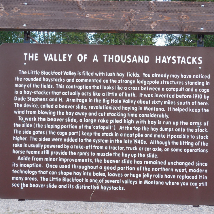 The Valley of a Thousand Haystacks Historical Marker